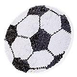 Homyl Aufnäher Applikationen Stickerei Doppelseiten Pailletten Aufkleber Sticker - Schwarz-Weiss Fußball, 18cm