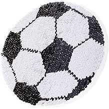 perfk Parche Decorativo Fútbol Lentejuelas Reparación de Costura Reversible Doble Cara Bordado Diseño Hermoso