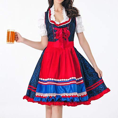 irndl,Frauen 3 Stück Kleid Karneval Bayerisches Oktoberfest Cosplay Kostüme,Abendkleider für Damen,Rot,XL ()
