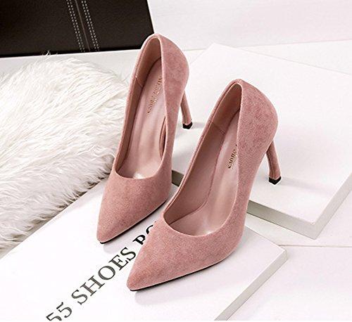 Aisun Damen Elegant Spitz Zehen High Heels Stiletto Nubukleder Pumps Pink