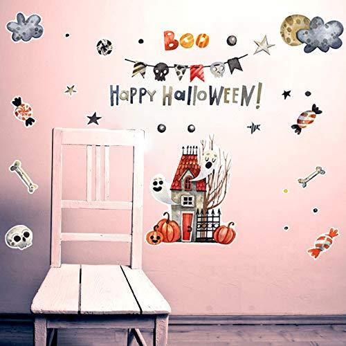 JXFY 58x90cm Haushaltswaren Kinderzimmer Schlafzimmer Wanddekoration Halloween Ghost House Cartoon Wandaufkleber Selbstklebend (Klassenzimmer-tür-dekoration-ideen Für Halloween)