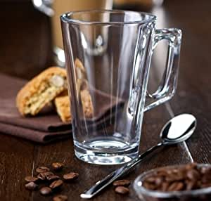 Latte Coffee Glass Mugs 8.66oz By Amethyst C E, Set of 6 - Ideal for lattes, liqueur coffees and Irish coffee.