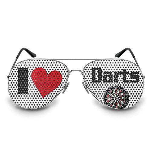 *COOLEARTIKEL Dart-Brille Party-Brille Spaß-Brille mit Motiv I love Darts, bedruckte Sonnenbrille für Dart Fans (Pilotenbrille silber)*
