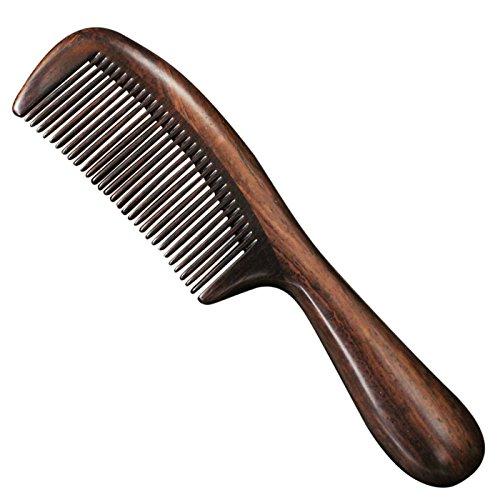 Jiao Mujiao Feoya Holzkamm Unisex Frisierkamm Well Groomed Wizard Haarkamm aus Holz Antistatische Ebenholz Hölzerne Haar Massage Kamm mit Kasten auch für Bartpflege Haarpflege