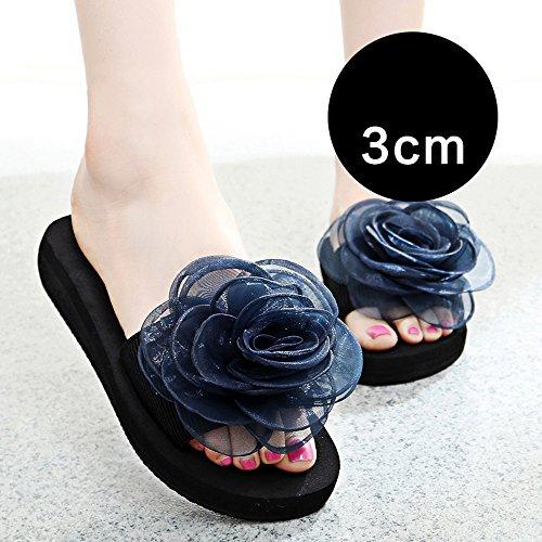 Estate Sandali 3cm / 7 centimetri femminili pistoni di estate spessi donne inferiori pistoni freddi Nuove scarpe da spiaggia moda (blu / nero / arancio / viola) Colore / formato facoltativo 3CM-Blue