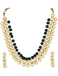 Aradhya Stylish Square Kundan With Green Stone And Shining Beige Pearl Necklace Set With Earrings For Women And...