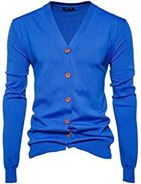 Honghu Casual Cárdigans para Hombre, Navidad Manga Larga De Punto De Chaqueta Sweater Outwear Coat Azul 2XL