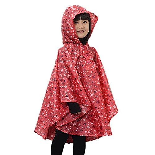 LOSORN ZPY Kinder Mädchen Stern Regenjacke Regenmantel mit Kapuze Wasserdicht Softshelljacke Regenponcho rot L(125-150 CM) - Kind Cape