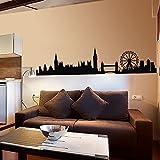 "Europa City adhesivo de pared Londres Skyline Adhesivo de Pared Vinilo Silueta de la ciudad de Londres Skyline pared gráfico mural Home Art Decor, vinilo, negro, 9""hx40""w"
