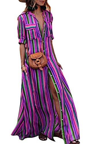 ECOWISH Damen Kleid Boho Gestreift Bunt Sommerkleid Lose Casual Taschen Kragen Button Down Blusenkleid Halber Ärmel Langes Maxikleid Lila M