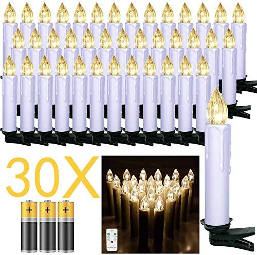 Froadp LED Kerzen 30 Stück mit Fernbedienung und Batterien Warmweiß LED Weihnachtskerzen Weinachten für Weihnachtsbaum, Weihnachtsdeko, Hochzeitsdeko
