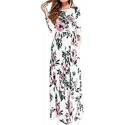 Verano Boho Mujer Long Maxi Noche Falda De La Fiesta De La Playa Vestidos De Tamaño Grande Blanco M