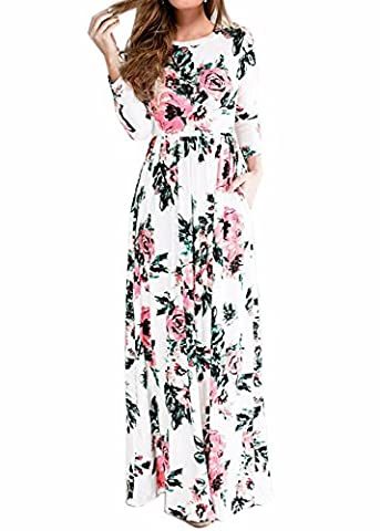 Women's Spring Fashion Printed Long Dress Three Quarter Sleeve Empire Flower Floor-length Dress White