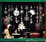 ufengke Joyeux Noël Ornements Ange Pendentif Flocon de Neige Boule de Noel Vitrine Stickers Muraux, Salle de Séjour Chambre À Coucher Autocollants Amovibles