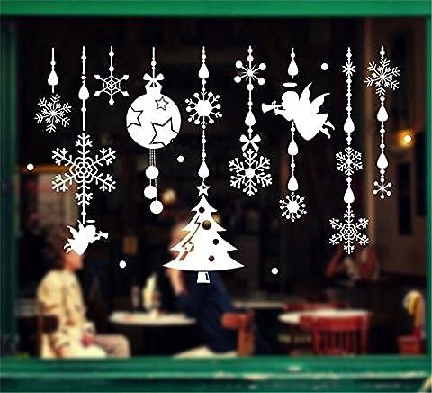 ufengke Joyeux Noël Ornements Ange Pendentif Flocon de Neige Boule de Noel Vitrine Stickers Muraux, Salle de Séjour Chambre À Coucher Autocollants