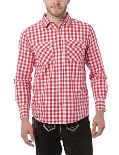 Lower East Herren Trachtenhemd, Gr. Medium, Rot (Rot/Weiß)