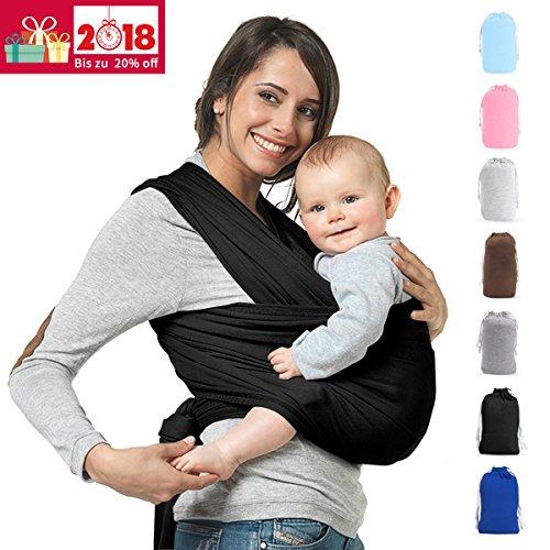 Premium Babytragetuch | Elastisches Babytrage | 100% Baumwolle | Baby Wrap Sling für Neugeborene und Kleinkinder | inkl. Trageanleitung | Ohne Künstliches Elastan | Von Future Founder ( Schwarz)