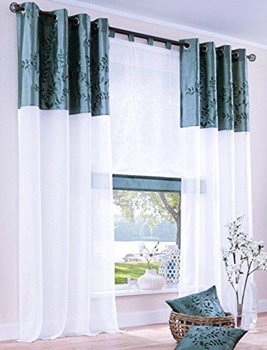 Gardine, mit Ösen, Farbe Petrol, Design Floral, Bestickt, Bordüre, Transparent, Voiele, Waschbar, Maße HxB 225x140 cm