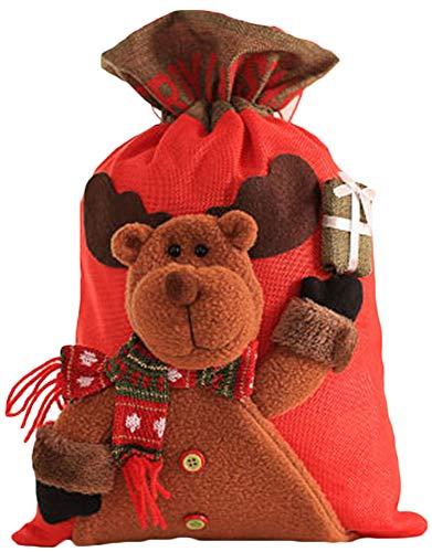 Zalock Weihnachtsdekorationen Candy Bag mit Kordelzug Geschenk Tote Tasche Schön Dekoration Sackleinen Geschenktüte für Festival Bankett Party