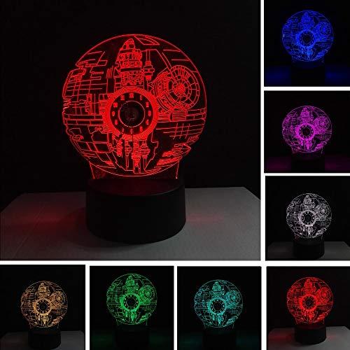 2019 3D Kraft Erwacht Star Wars Death Star Mit Echten Uhr Nachtlicht 7 Farbe Farbverlauf Schreibtisch Tisch Lampe Xmas Geburtstagsgeschenk