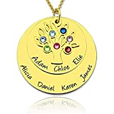 Personalisierte Silber Familienstammbaumkette - Mutter Halskette mit Steinen - Geburtssteinkette - Kostenlose Gravur mit bis zu 7 Namen