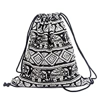 Vikenner Canvas Drawstring Storage Backpack Bag Elephant Geometric Patterns Gym PE Sports Sack Bags Shoulder Rucksack for Adults Children School/Travel/Swimming Storage - 34*41cm - Black