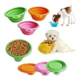 Pet Dog Cat Fashion Silicone Collapsible Feeding Water Feeder Travel Bowl Dish-Color Random