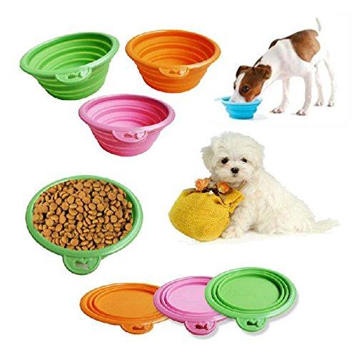 Haustier Hund Katze Fashion Silikon Collapsible Fütterung Wasser Feeder Travel Bowl Dish-Farbe Random