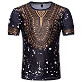 UFACE Herren Kurzarm Ethnic Print T-Shirt Top Lässig African Print O Hals Pullover Langärmeliges T-Shirt Top (XL, Schwarz)