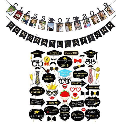 Leegicst Photobooth Accessoires,Banner für Abschlussfeier Requisiten,Partyfotoautomat Schnurrbart Partybrillen Krawatte Hüte Verkleidung Photo Booth Props für Abschlussjahreszeit