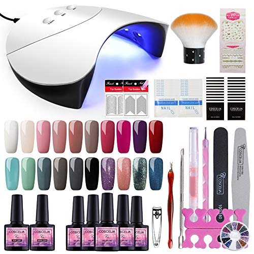 Saint-Acior 36W UV Lámpara LED Secador de Uñas 20PCS Esmalte Semipermanente Topcoat Base Coat Decoración...