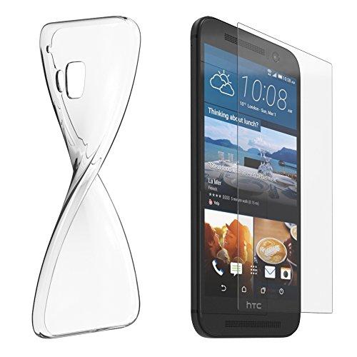 HTC Desire 626G Dual Sim Silikonhülle & Panzerglas (9H) Schutz Set I von EAZY CASE I, Displayschutzglas, Panzerglas, Schutzhülle ultra dünn, TPU/Silikon Hülle, Backcover, transparent/kristallklar