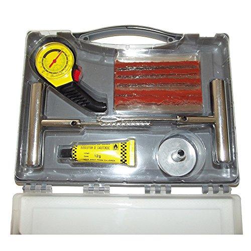 HT-Kit-ripara-pneumatici-gomme-forature-Misura-pressione-Valigia-di-emergenza-Auto