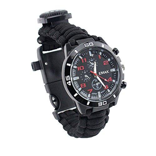 Reloj de Supervivencia Deportes Militar Compás Termómetro Multifunción Cuerda Paracord Relojes de Pulsera para Hombres, Negro