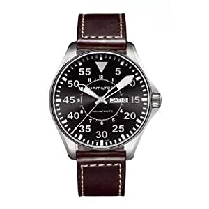Hamilton Men's Brown Leather Band Steel Case Automatic Black Dial Analog Watch H64715535