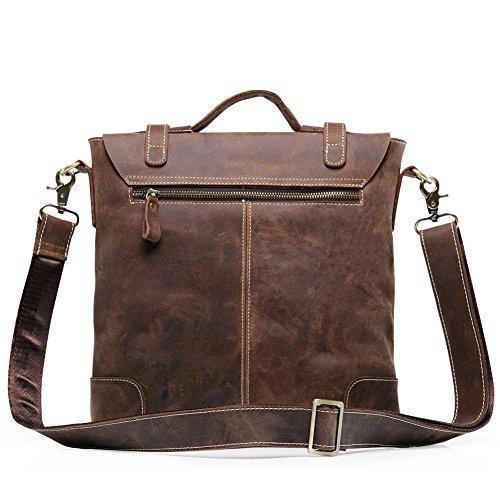 Teemzone Borsa a Tracolla Messenger in Pelle Uomo Donna Messenger Bag Cartella di Affari Borsa Università Lavoro Portatile Ufficio (Marrone) Marrone