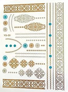 Tatouages éphémères métallique waterproof henné turquoise. Tattoo temporaire or - Bijou de peau