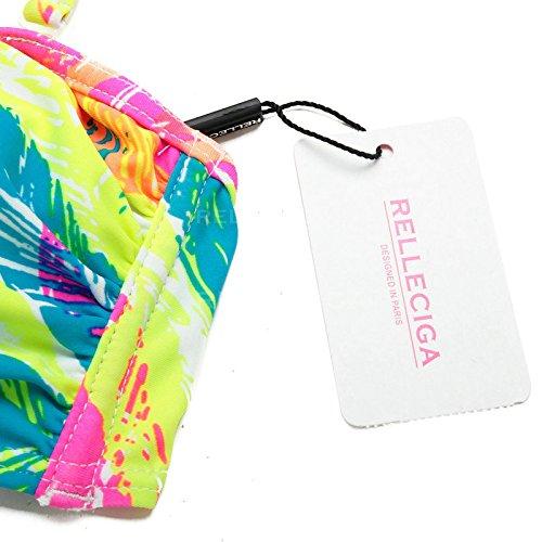 RELLECIGA Damen Bademode Bandeau Bikini mit V-Dekolleté Palm