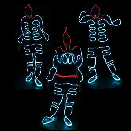 Neon Dance Kostüm - WSXX Mode Neon kaltes Licht, EL Seil, Standard leuchtende LED, für Weihnachten Party Pub Festival Dekoration Dance Party, leuchtende Kleidung Requisiten