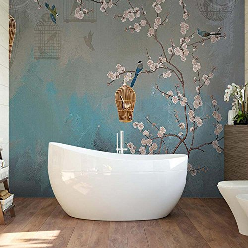 Yosot Vintage Plum Vogel Malerei Wandbild Wohnzimmer Home Wand Kunst Dekor 3D-Tapeten Retro Blumen Foto Tapete-450 Cmx 300Cm (Vogel-wand-kunst-malerei)