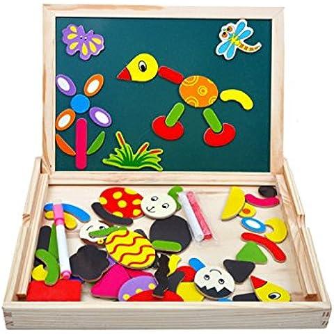 CrazySell Dibujo Magnética Placa de Madera del Rompecabezas con la Caja para Niños de 3 Años + (maravilloso Placa)