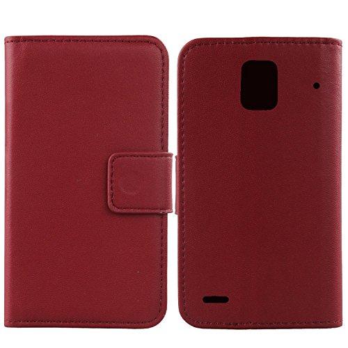 Gukas Design Echt Leder Tasche Für Huawei Ascend P1 U9200 Hülle Handy Flip Brieftasche mit Kartenfächer Schutz Protektiv Genuine Premium Case Cover Etui Skin Shell (Dark Rot)
