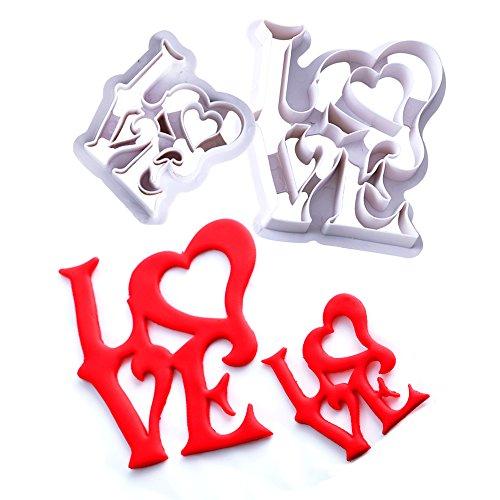 qeleg 2Set Love Keks Ausstecher Fondant Kuchen Cookie cutters-food Grade ABS Kunststoff 2 Food Cutter