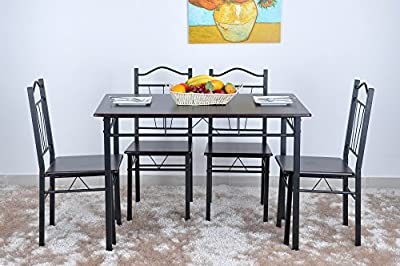 HEVIANSY 5pcs Dining Table and Chairs Set (1 Table + 4 Chairs)