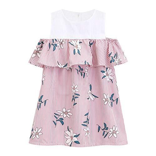 Julhold Kleinkind Kinder Baby Mädchen Schulterfrei Floral Bedruckt Rüschen Prinzessin Freizeitkleidung Kleidung 2-7 Jahre -