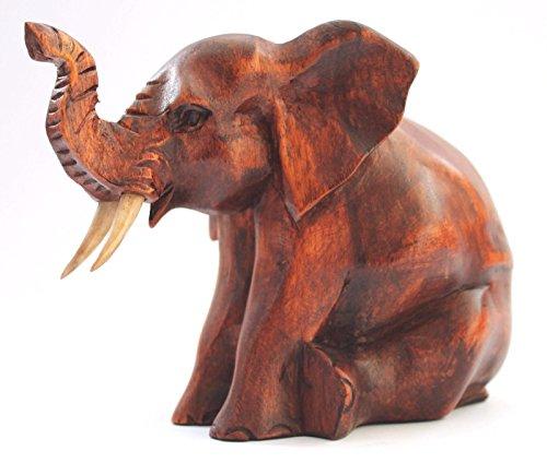 ?L?PHANT 16?CM de madera de Suar V?ritable trabajo manual figura Elephant Estatua...
