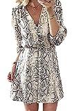 Sopliagon Frauen Cocktail - Kleid/Hals Testen Unten Schlange Print - Mini - Kleider Florale M