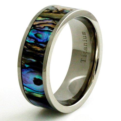 Ringe Männer Gold Verheiratet Für (Titan Fluoreszierend Seeohr Schale Inlay Ring - Größe 70 (22.3))