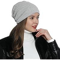DonDon Mujer Jersey Gorro para todo el año clásico flexible gorro transpirable suave y adaptable a cualquier talla de cabeza