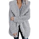 Giacche da Donna Finto Pelliccia Vendita Donne Inverno Caldo Cappotto Pelo con Cappuccio Outerwear(Grigio,XL)